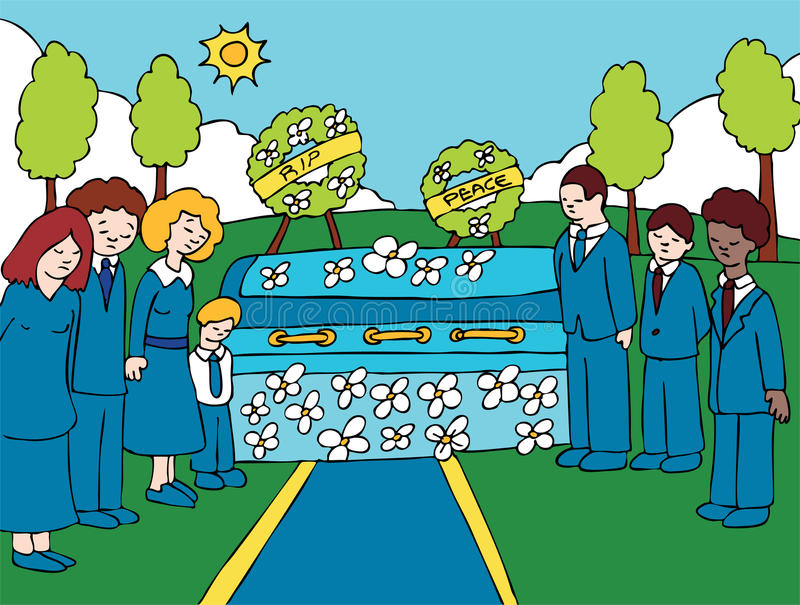 Funeral Service Event. People mourn a lost loved one at an outside funeral vector illustration