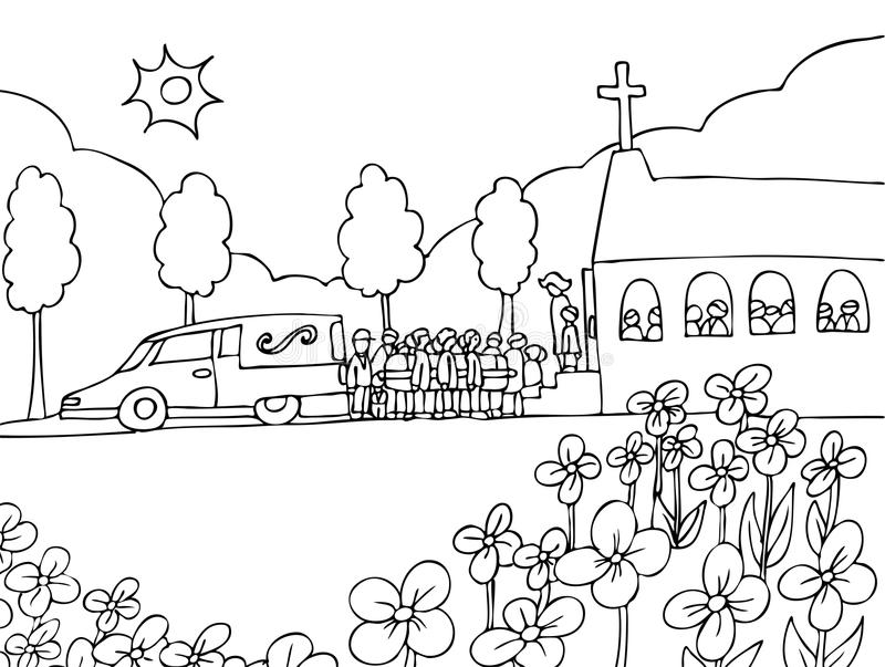 Funeral Service Event - black and white royalty free illustration