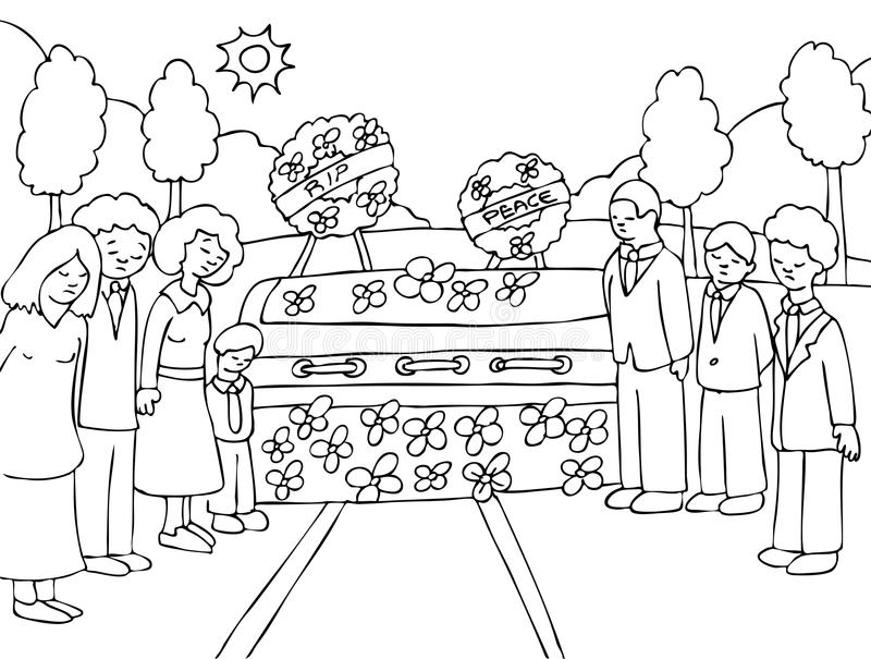 Funeral Service Event - black and white. People mourn a lost loved one at an outside funeral - black and white vector illustration