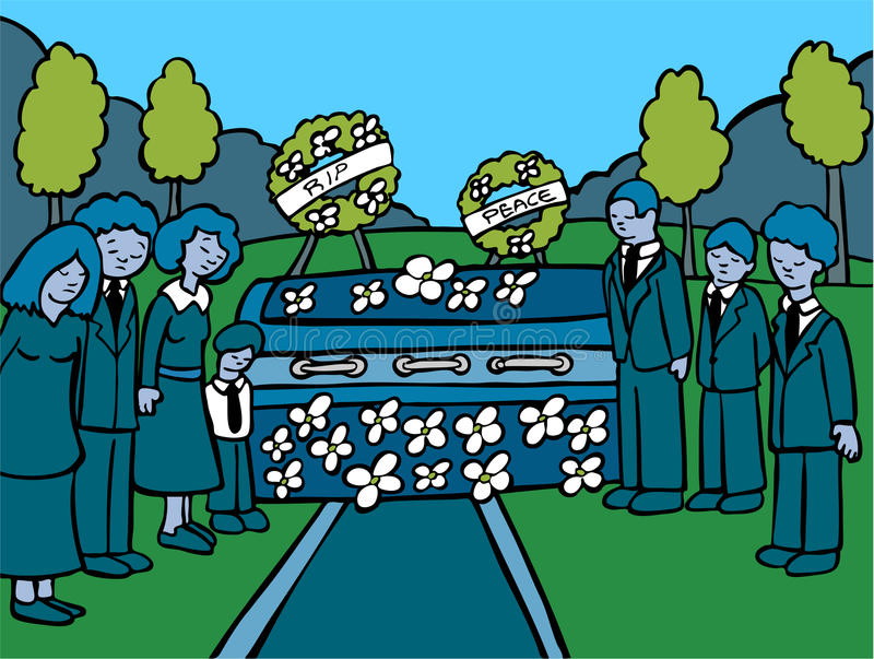 Funeral Service Event - dark. People mourn a lost loved one at an outside funeral - darker colored stock illustration