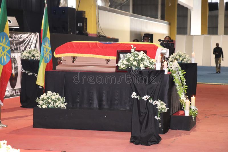 Funeral service of Former Ethiopian President Dr. Negasso Gidada. Funeral of Former Ethiopian President Dr. Negasso Gidada that was attended by thousands of royalty free stock image