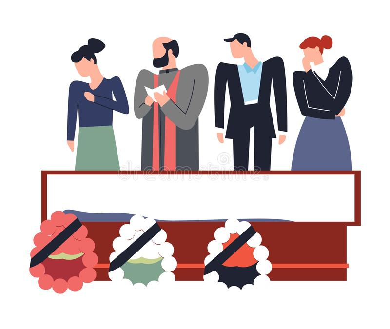 Funeral service people standing above deceased dead person. Vector corpse in coffin wreath made of flowers and ribbons relatives and friends gather for last day vector illustration