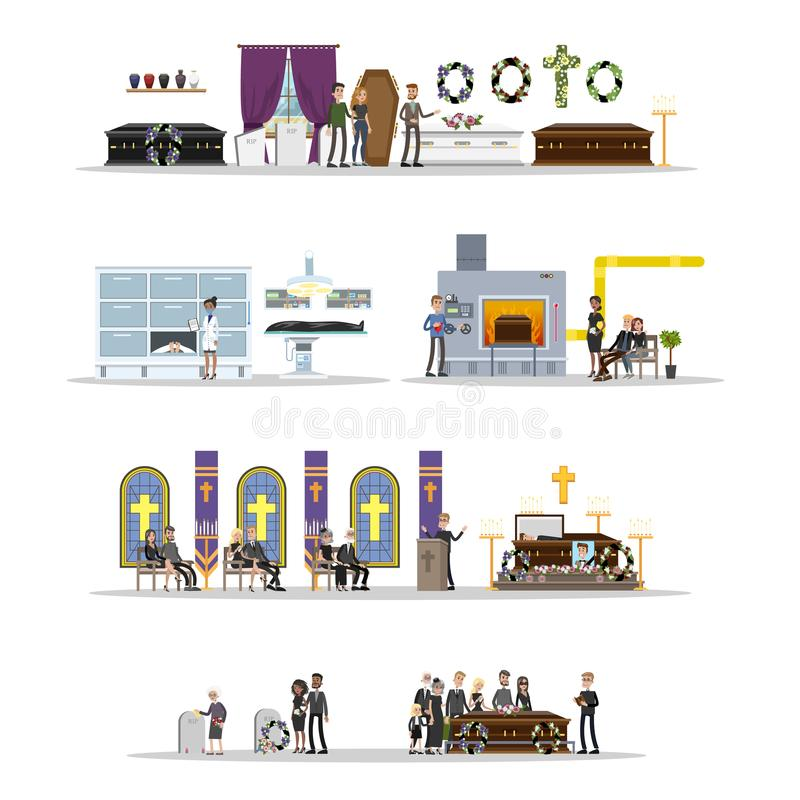 Funeral service set. Cemetery and crematory. People in black clothes crying at the memorial ceremony in the church. Isolated vector flat illustration vector illustration