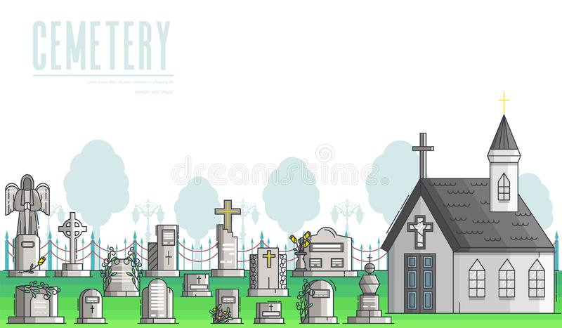 Funeral services of agency banner. Christian cemetery. royalty free illustration