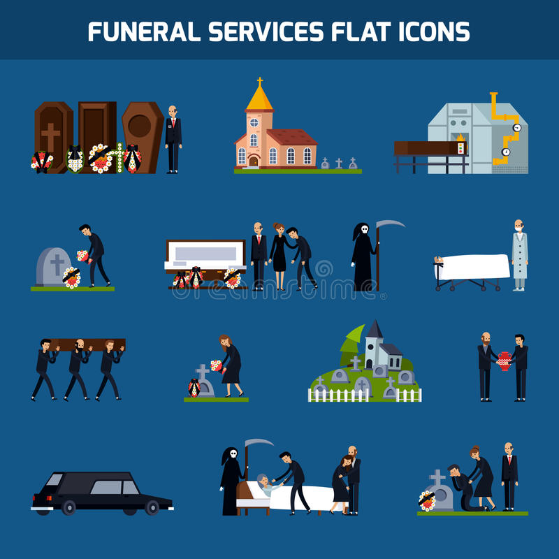 Funeral Services Flat Icon Set. Colored and isolated funeral services flat icon set with death figure and sad people vector illustration stock illustration