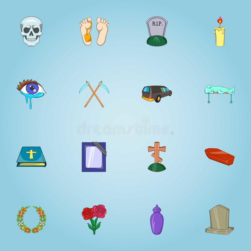Funeral services icons set, cartoon style royalty free illustration