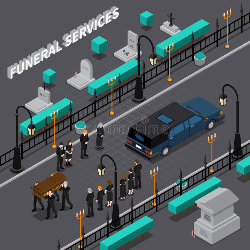 Funeral Services Isometric Composition. With workers carrying coffin and people during ceremony car on road vector illustration stock illustration