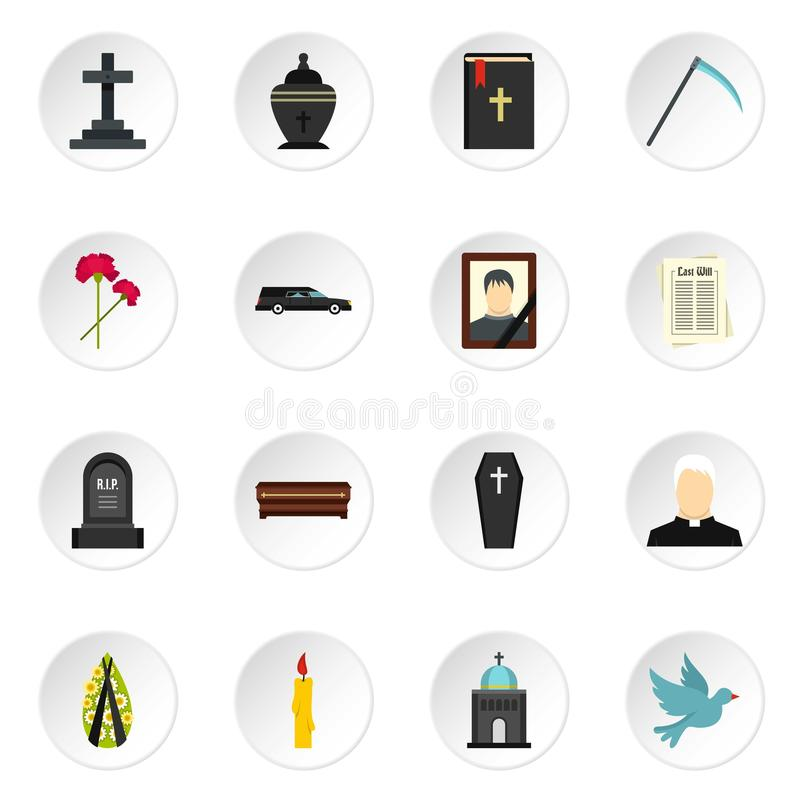 Funeral set flat icons. Funeral set icons in flat style isolated on white background vector illustration
