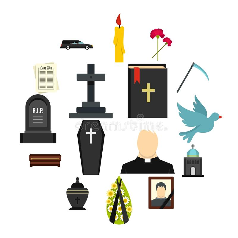 Funeral set flat icons. Funeral set icons in flat style isolated on white background stock illustration