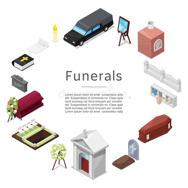 Funeral vector icon set in isometric style for posters. Ritual services. Funeral accessories wreath, coffin, candle, urn royalty free illustration