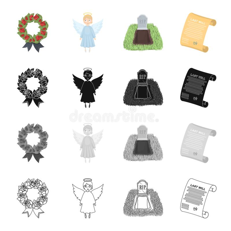 Funeral wreath, angel, grave in the cemetery, testament of the deceased. Funeral Ceremony set collection icons in. Cartoon black monochrome outline style vector royalty free illustration