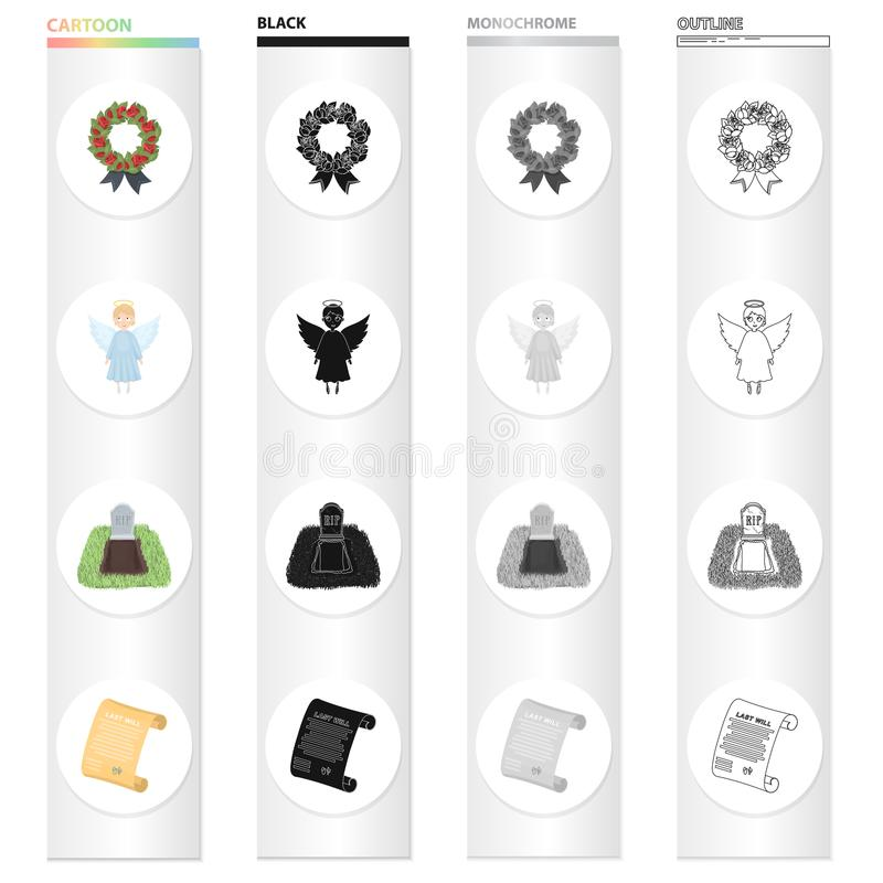 Funeral wreath, angel, grave in the cemetery, testament of the deceased. Funeral Ceremony set collection icons in. Cartoon black monochrome outline style vector stock illustration
