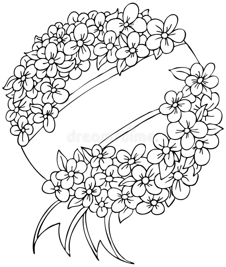 Funeral Wreath - black and white vector illustration