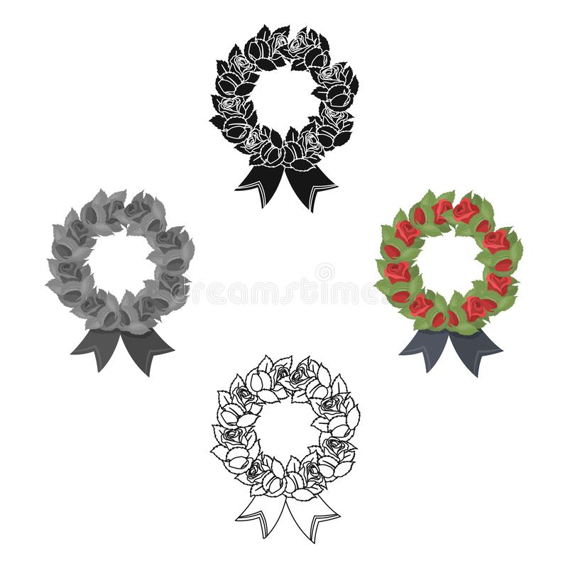 Funeral wreath icon in cartoon style isolated on white background. Funeral ceremony symbol stock vector illustration. stock illustration