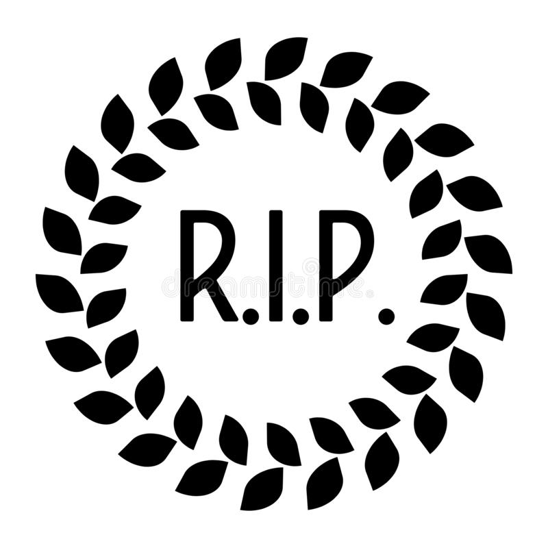 Funeral wreath with R.I.P. label. Rest in peace. Simple flat black illustration. vector illustration