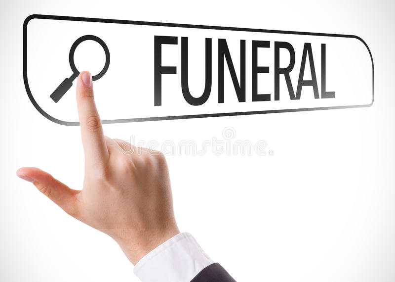 Funeral written in search bar on virtual screen stock image