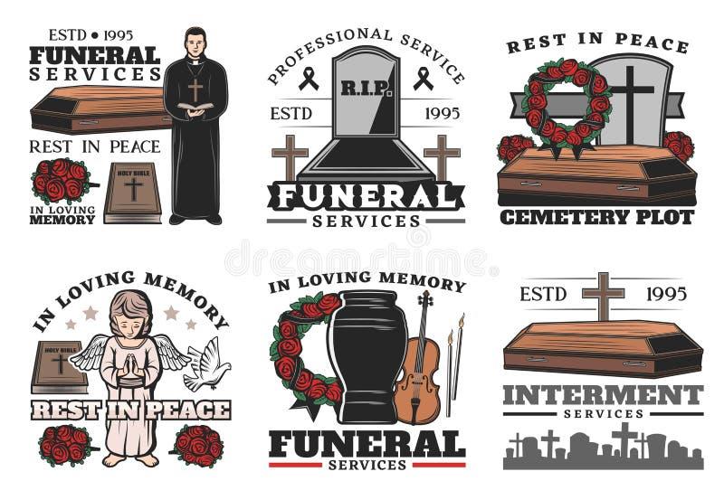 Funerale, bara, urna, cimitero, pietra tombale royalty illustrazione gratis
