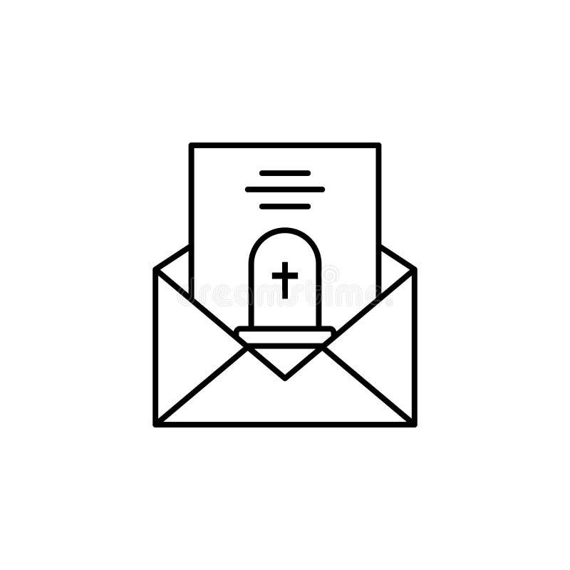 funerale, lettera, icona del profilo di morte insieme dettagliato delle icone delle illustrazioni di morte Pu? essere usato per i royalty illustrazione gratis