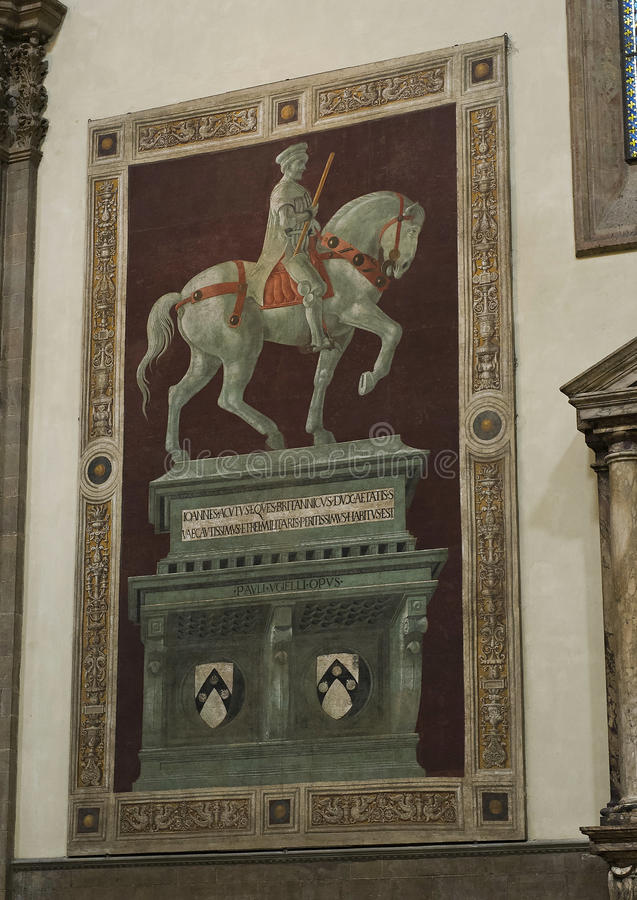 Funerary Monument aan Sir John Hawkwood door Paolo Ucello royalty-vrije stock fotografie