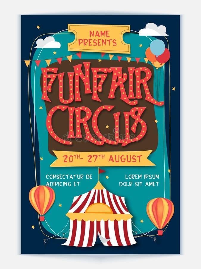 Funfair Circus Template, Banner or Flyer design. vector illustration