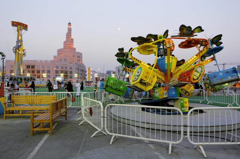 Funfair in Doha royalty free stock photo