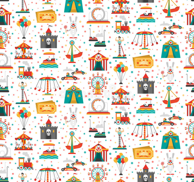 Free Funfair Fair Amusement Park Seamless Pattern Royalty Free Stock Photo - 64911875