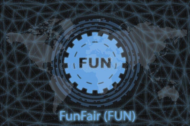 FunFair FUN Utdrag kryptovaluta Med en mörk bakgrund och en världskarta Grafiskt koncept för din design royaltyfri illustrationer