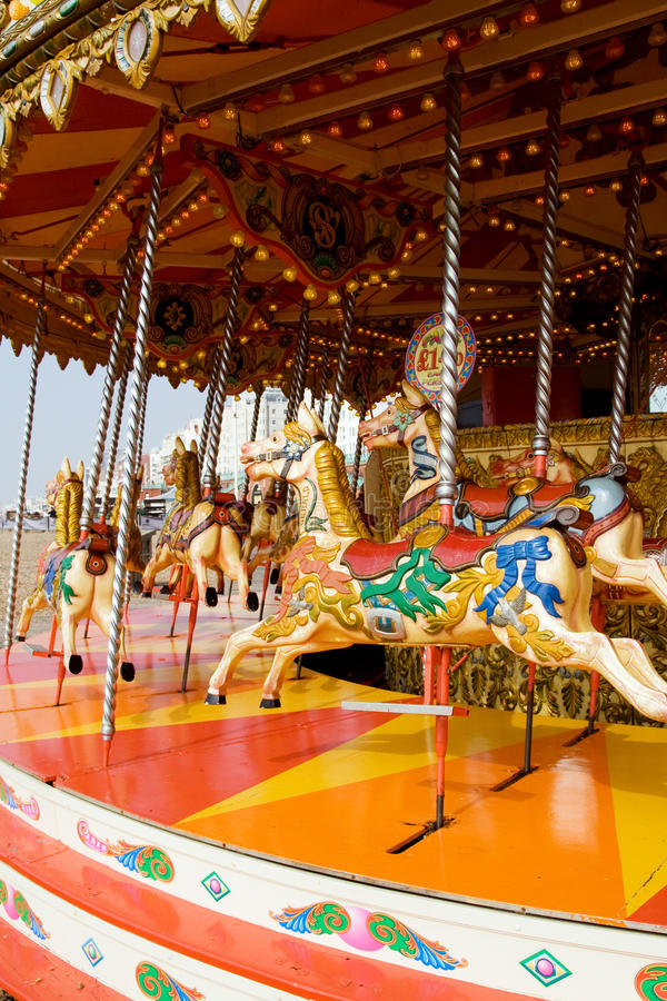 Funfair horse carousel royalty free stock image