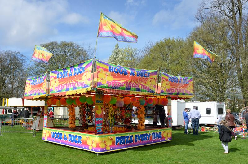 Funfair stall for hook a duck. Colchester United Kingdom -1 April 2017: Funfair stall for hook a duck stock images