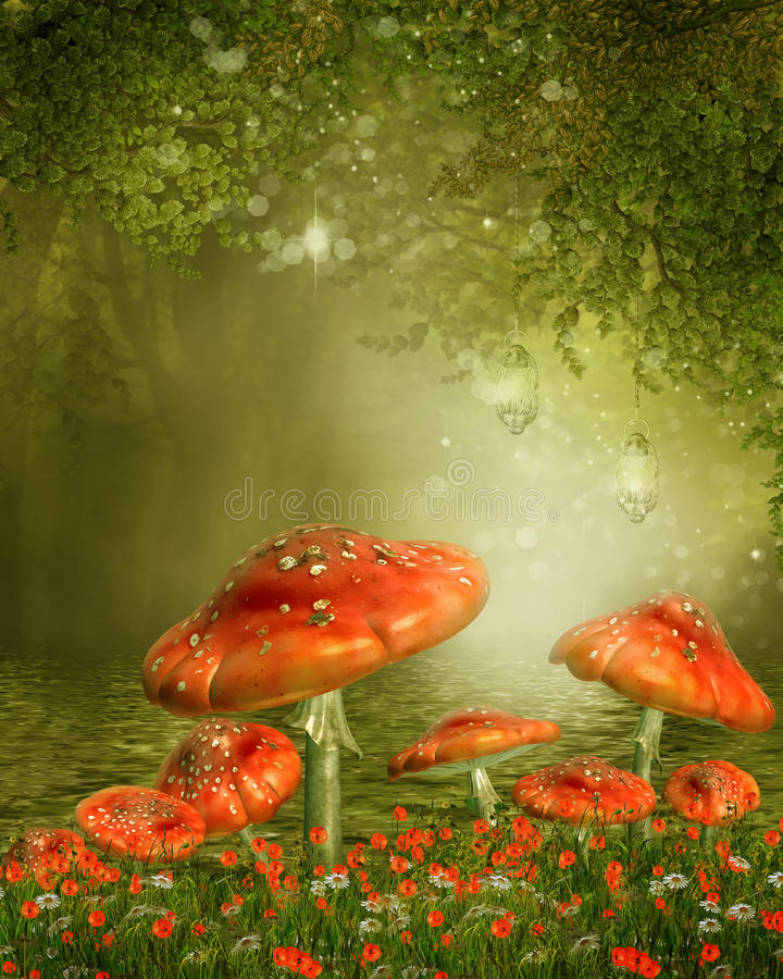 Funghi da uno stagno royalty illustrazione gratis