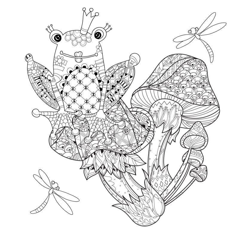 Funghi disegnati a mano di magia del profilo di scarabocchio illustrazione vettoriale