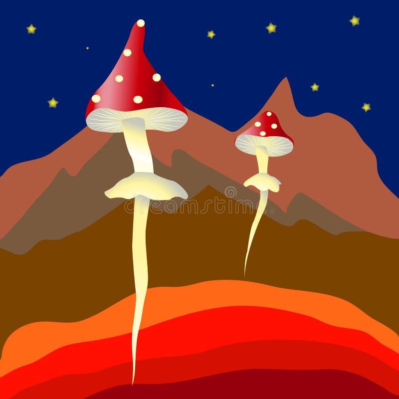 Funghi fantastici di volo su un pianeta distante illustrazione vettoriale