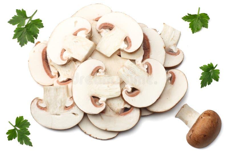 Funghi freschi del fungo prataiolo isolati su fondo bianco Vista superiore fotografia stock