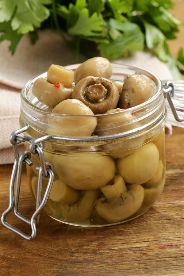 Funghi marinati del fungo prataiolo con le spezie immagine stock libera da diritti