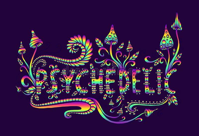 Funghi psichedelici, piante e parola di fantasia psichedelici Dood royalty illustrazione gratis
