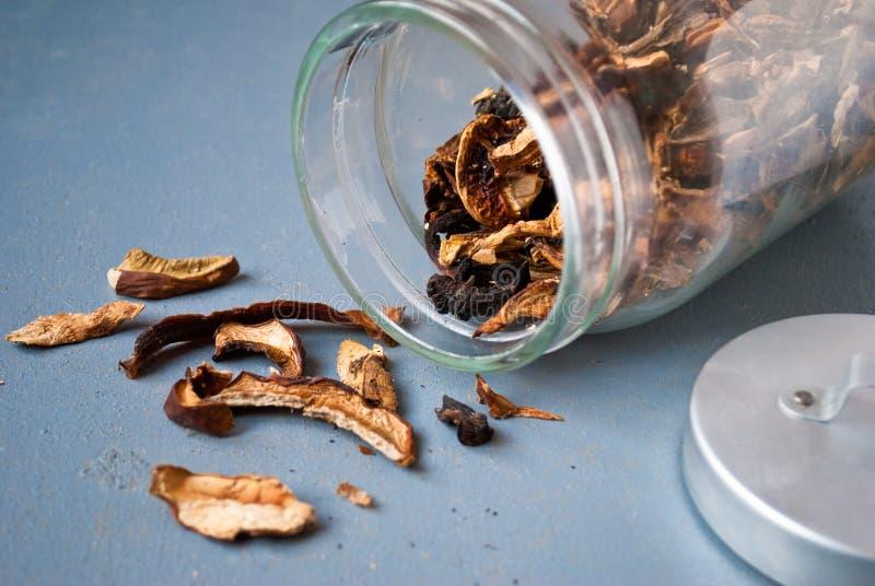 Funghi secchi in barattolo di vetro fotografie stock