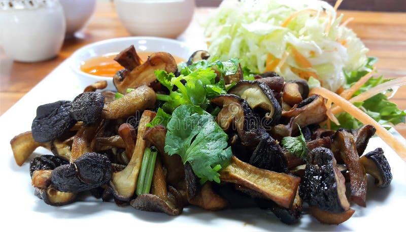 Fungo di shiitake saltato con la salsa del fagiolo della soia fotografia stock libera da diritti