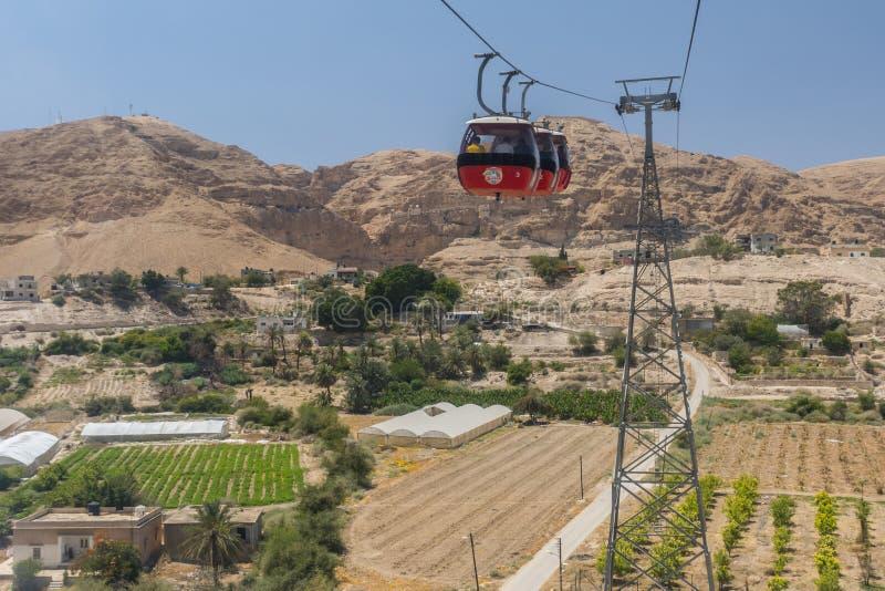 Funiculaire au bâti de la tentation, Jéricho, Cisjordanie, Palestine photos libres de droits
