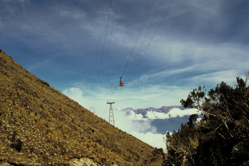 Funiculaire dans les Andes photos stock
