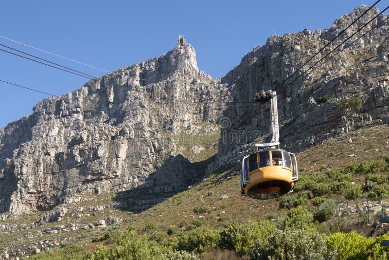 Funiculaire en Afrique du Sud Capetown avec la vue pour ajourner la montagne photos stock