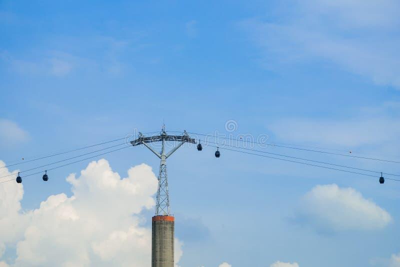 Funiculaire et poteau de regard fort de funiculaire sous le fond lumineux de ciel bleu et de nuage image libre de droits