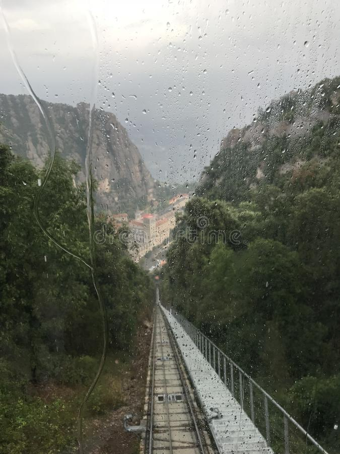 Funiculaire ? Montserrat Mountain photographie stock libre de droits