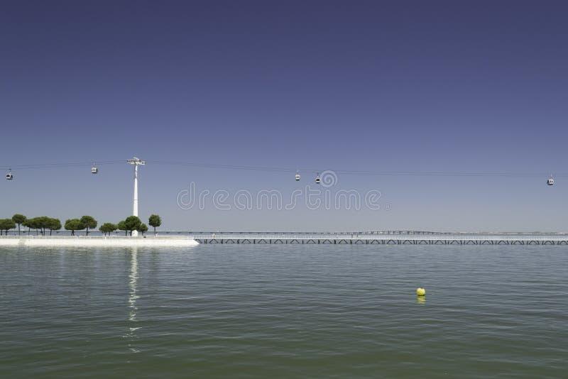 Funiculaires au-dessus de rivière image libre de droits