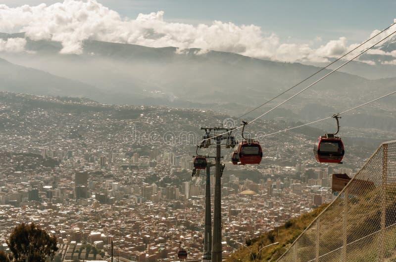 Funiculaires dans La Paz bolivia images libres de droits