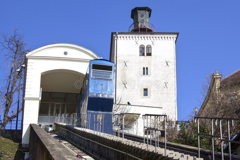 Funicular και Kula Lotrscak στο Ζάγκρεμπ στοκ φωτογραφία με δικαίωμα ελεύθερης χρήσης