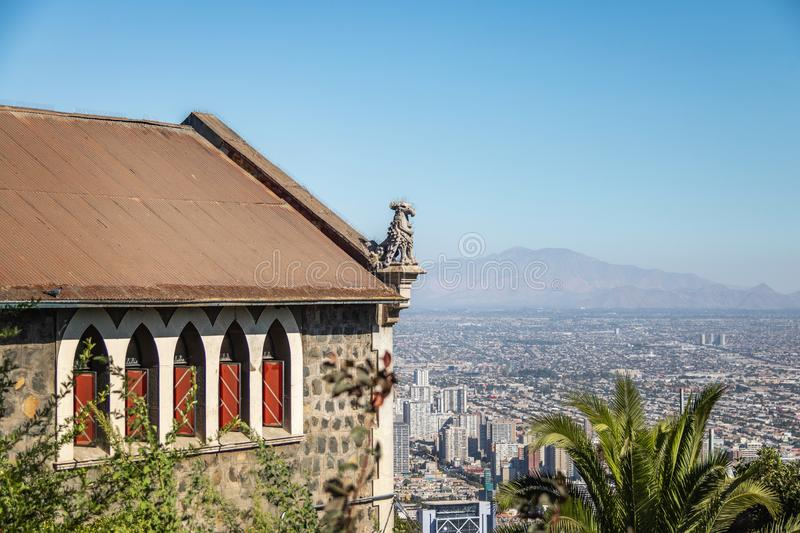 Funicular building of San Cristobal Hill and aerial view of Santiago City - Santiago, Chile stock photography