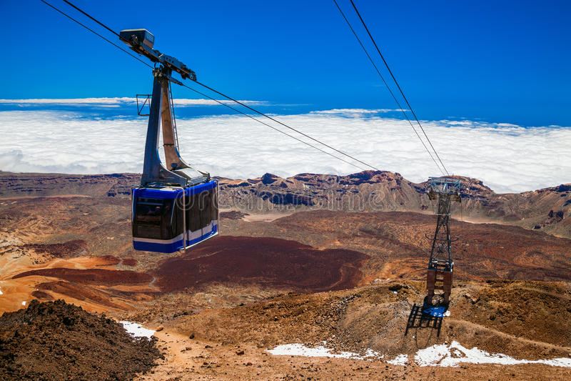 Funicular on a cableway to the volcano Teide. In Tenerife, Canary Islands, Spain stock photo