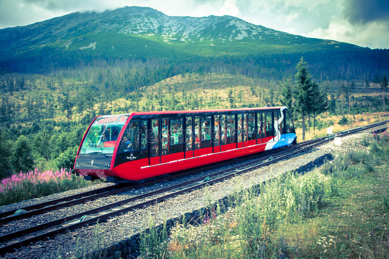 Funicular at High Tatras, Slovakia stock photos
