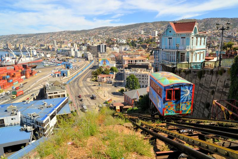 Funicular kolei eskalator, Valparaiso, Chile obraz stock