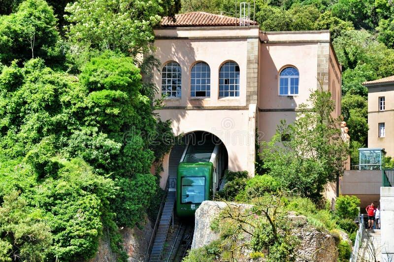 Funicular na halnym Montserrat obrazy royalty free